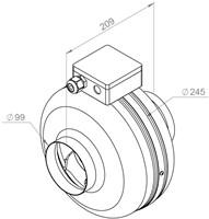 Ruck buisventilator RS 240m³/h diameter 100 mm - RS 100L 10-2