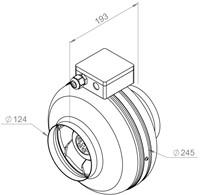 Ruck buisventilator RS 350m³/h diameter 125 mm - RS 125L 10-2