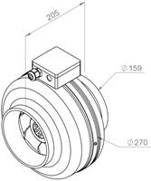 Ruck buisventilator RS 460m³/h diameter 160 mm - RS 160L 10-2