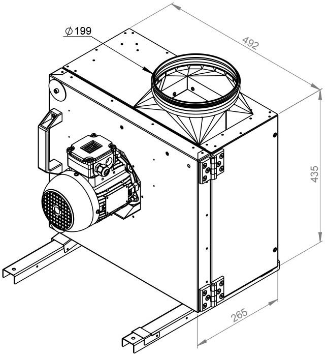 Ruck frequentiegestuurde horeca boxventilator met motor buiten de luchtstroom 1960 m³h MPS 225 D2 30
