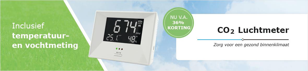 CO2 luchtmeter inclusief temperatuurmeting en vochtmeting