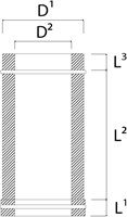 DW diameter  300 mm (300/350) buis L500 I316L/I304 (D0,5/0,6)-2