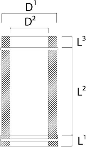 DW diameter  130 mm (130/180) buis L300 I316L/I304 (D0,5/0,6)-2
