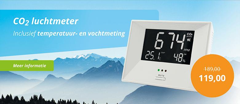 Aanbieding CO2 Luchtkwaliteitmeter inclusief temperatuur- en vochtmeting met korting, nu voor maar €119,-