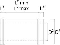 Concentrische diameter  100 - 150 mm schuifstuk I316L/I304 (D0,5/0,5)-2