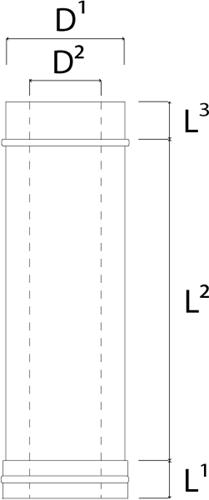 Concentrische diameter  130 - 200 mm buis L300 I316L/I304 (D0,5/0,5)-2