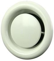 Ventilatie afvoer ventiel metaal Ø 125 mm wit met montagebus - DVS125-1