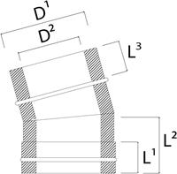 DW diameter  150 mm (150/200) bocht 15 gr I316L/I304 (D0,5/0,6)-2