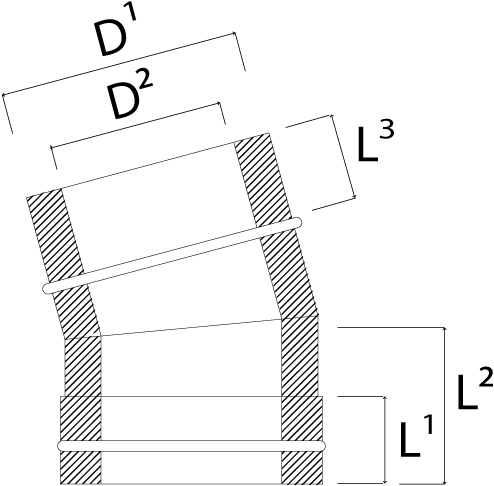 DW diameter  300 mm (300/350) bocht 15 gr I316L/I304 (D0,5/0,6)-2