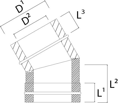 DW diameter  180 mm (180/230) bocht 30 gr I316L/I304 (D0,5/0,6)-2