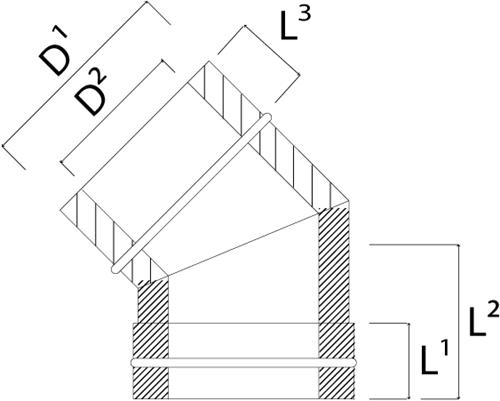 DW diameter  130 mm (130/180) bocht 45 gr I316L/I304 (D0,5/0,6)-2