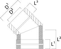 DW diameter  180 mm (180/230) bocht 45 gr I316L/I304 (D0,5/0,6)-2