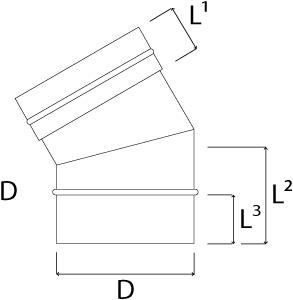 Kachelpijp Ø 400 mm RVS enkelwandige bocht 30°-2