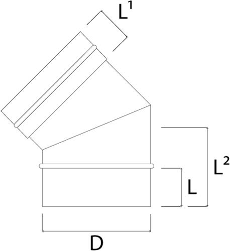 Kachelpijp Ø 500 mm RVS enkelwandige bocht 45°-2