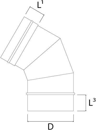Kachelpijp Ø 180 mm RVS enkelwandige bocht 60°-2