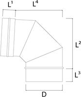 Kachelpijp Ø 400 mm RVS enkelwandige bocht 90°-2