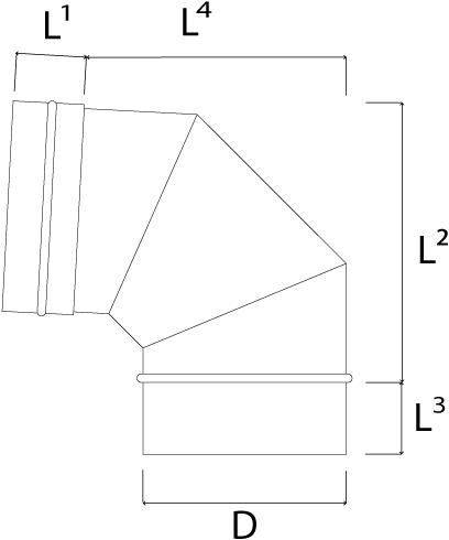 Kachelpijp Ø 450 mm RVS enkelwandige bocht 90°-2