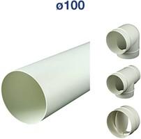 Ventilatiebuis kunststof rond en hulpstukken Ø 100 mm