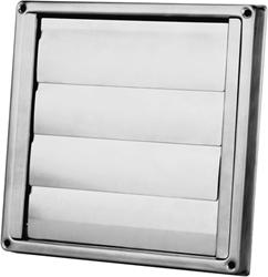 RVS gevelrooster Ø 125 mm met beweegbare lamellen (hoge doorlaat) - D5125125