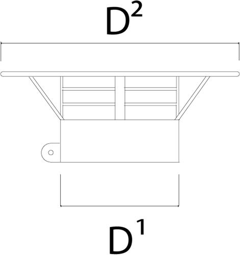 Regenkap met gaas diameter  150 mm I316L (D0,5)-2