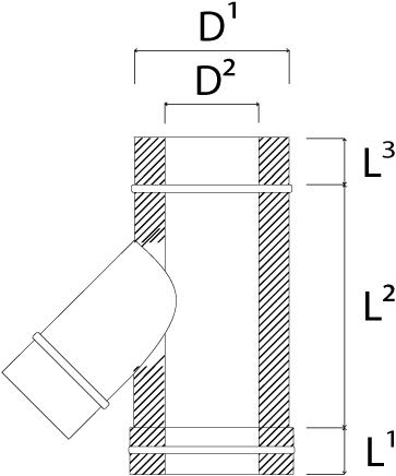 DW diameter  130 mm (130/180) T-stuk T135 I316L/I304 (D0,5/0,6)-2