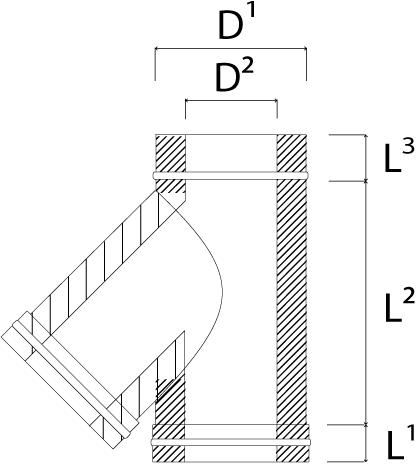 DW diameter  200 mm (200/250) T-stuk T135 EW I316L/I304 (D0,5/0,6)-2