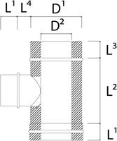 DW diameter  180 mm (180/230) T-stuk T90 EW I316L/I304 (D0,5/0,6)-2