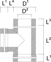 DW diameter  130 mm (130/180) T-stuk T90 I316L/I304 (D0,5/0,6)-2