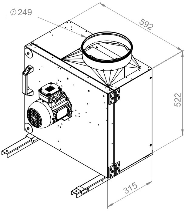 Ruck rookgasafvoer boxventilator swing out en frequentiegestuurde motor 2730 m³h (MPS 250 D2 F4 30)