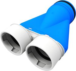 Uniflexplus ventilatie ventielcollector 2x Ø 90 mm met tuit Ø125mm