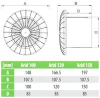 Badkamer ventilator rond diameter 100 mm wit met TIMER - 100BBTS bij ...