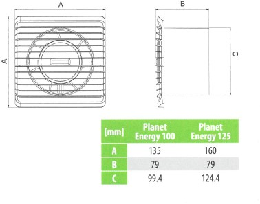 Badkamer ventilator Energiezuinig, Stil met VOCHTSENSOR en TIMER diameter 125 mm wit - 125HS-3
