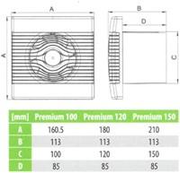 Badkamer ventilator met Vochtsensor en Timer 120 mm wit - pRemium120HS-2
