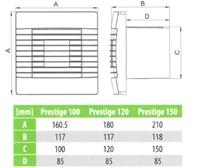 Badkamer ventilator met Automatische Sluitklep en Timer 100 mm wit - Prestige 100ZGTS-2