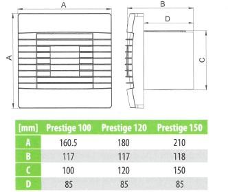 Badkamer ventilator met Automatische Sluitklep Vochtsensor en Timer 150 mm wit - Prestige 150ZGHS-2