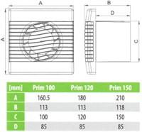 Badkamer ventilator met Vochtsensor en Timer 150 mm wit - pRim150HS-2