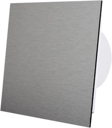 Badkamer ventilator diameter 100 mm met Timer en Vochtsensor - front geborsteld aluminium