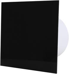 Badkamer ventilator diameter 100 mm met Trekkoord en Stekker - kunststof front zwart