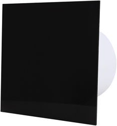Badkamer ventilator diameter 125 mm met Trekkoord en Stekker - kunststof front zwart