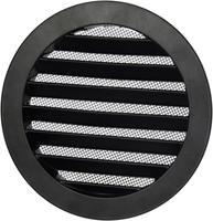 Aluminium buitenlucht muur rooster rond - Ø 80mm - ZWART-1