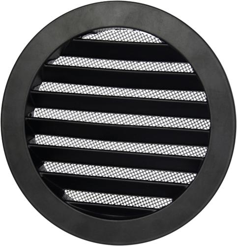 Aluminium buitenlucht muur rooster rond - Ø 125mm - ZWART (DSAV125B)