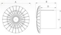 Badkamer ventilator rond diameter 120 mm wit met VOCHTSENSOR EN TIMER - 120BBHS-2