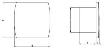Badkamer ventilator diameter 120 mm WIT met TIMER en VOCHTSENSOR - design T120HT-2