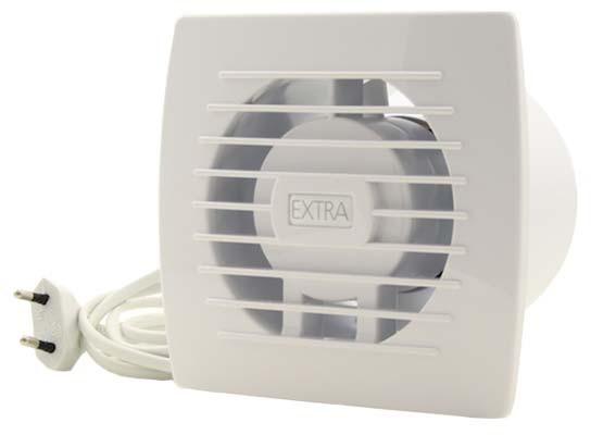 Badkamer ventilator diameter 100 mm WIT Trekkoord en stekker ...