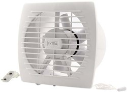 Badkamer ventilator diameter 150 mm WIT met Trekkoord en stekker - E150WP