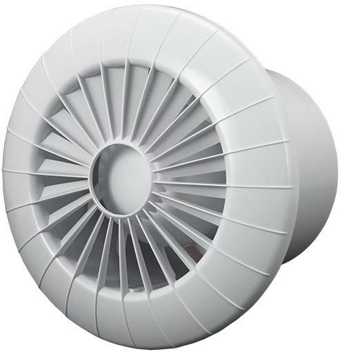 Badkamer ventilator rond diameter 100 mm wit met VOCHTSENSOR EN TIMER