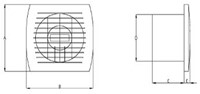 Badkamer ventilator diameter 150 mm WIT met TIMER en VOCHTSENSOR - E150HT-2