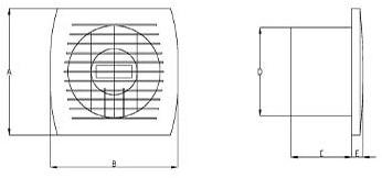 Badkamer ventilator diameter 120 mm WIT met TIMER - E120T