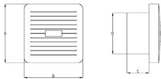 Badkamer ventilator diameter 100 mm WIT met AUTOMATISCHE SLUITKLEP, TIMER en VOCHTSENSOR - luxe X100ZHT
