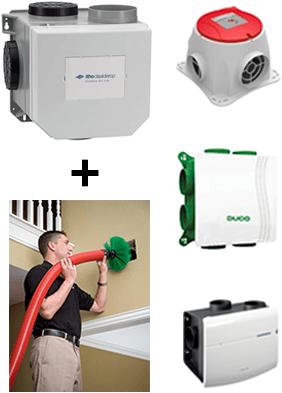 Installatie ventilator + borstel reinigen ventilatiekanalen en roosters + inregelen